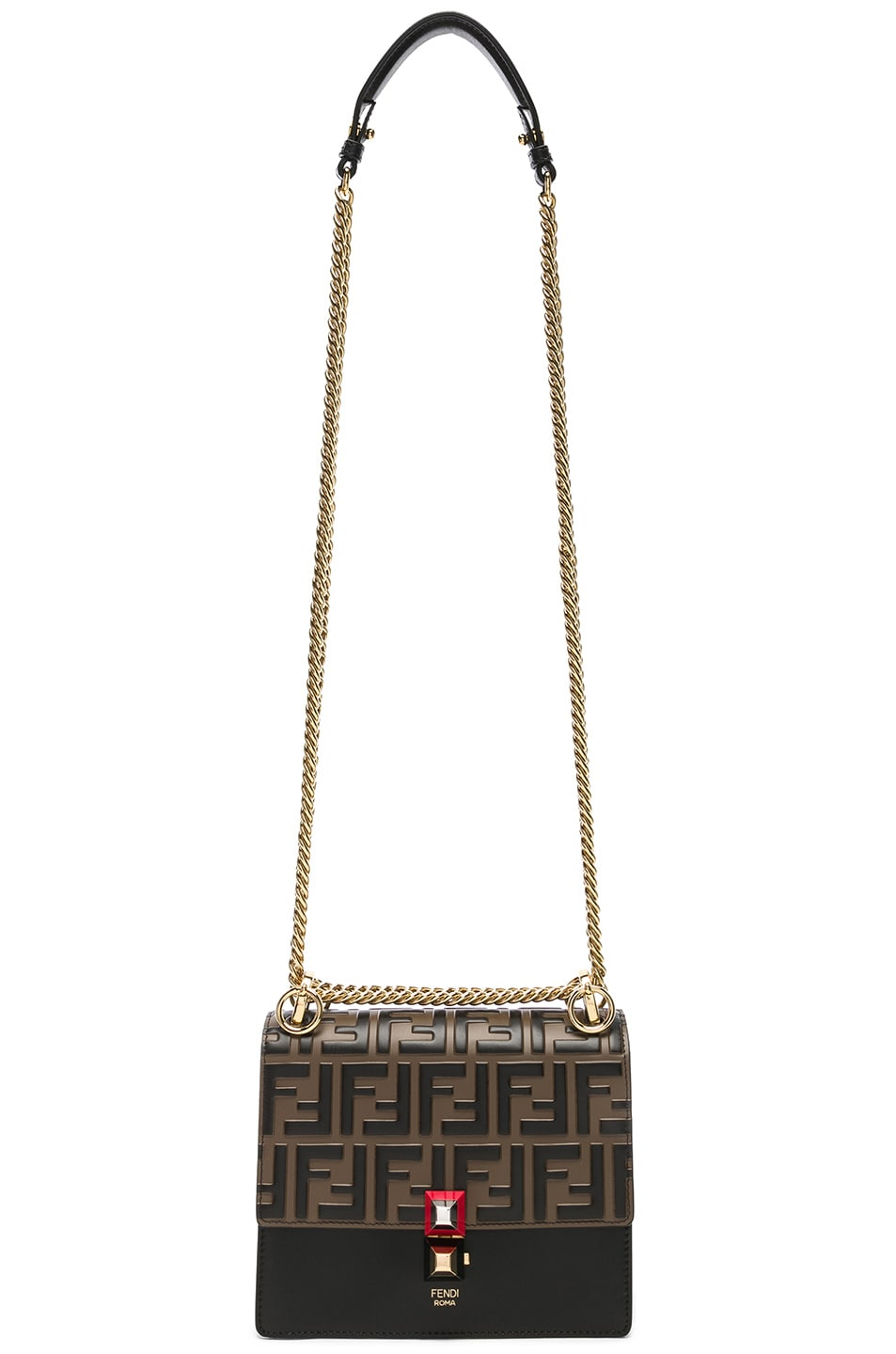 Image 6 of Fendi Small Logo Embossed Kan I in Black & Brown
