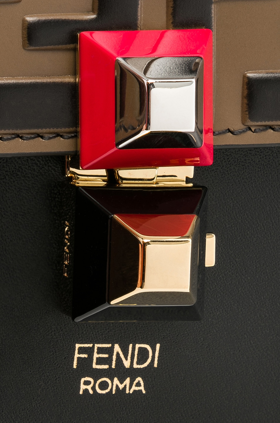 Image 8 of Fendi Small Logo Embossed Kan I in Black & Brown