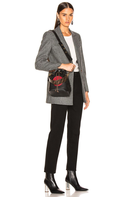 Image 2 of Fendi Mini Logo Embossed Bag Strap in Black & Brown