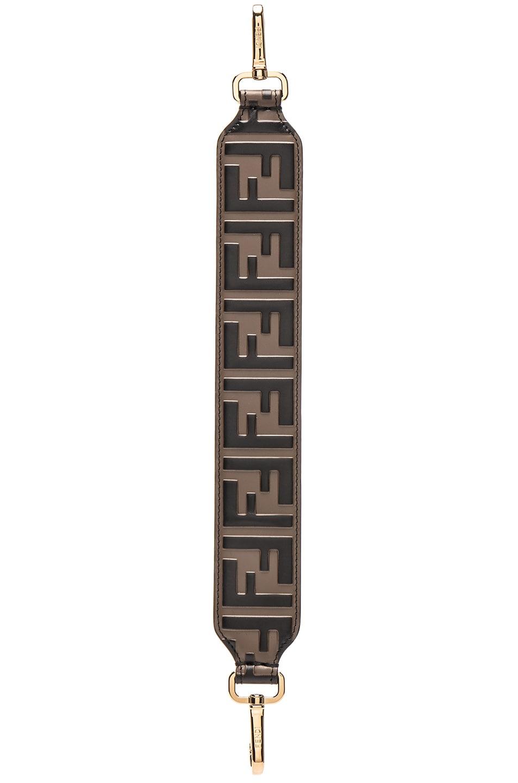 Image 3 of Fendi Mini Logo Embossed Bag Strap in Black & Brown