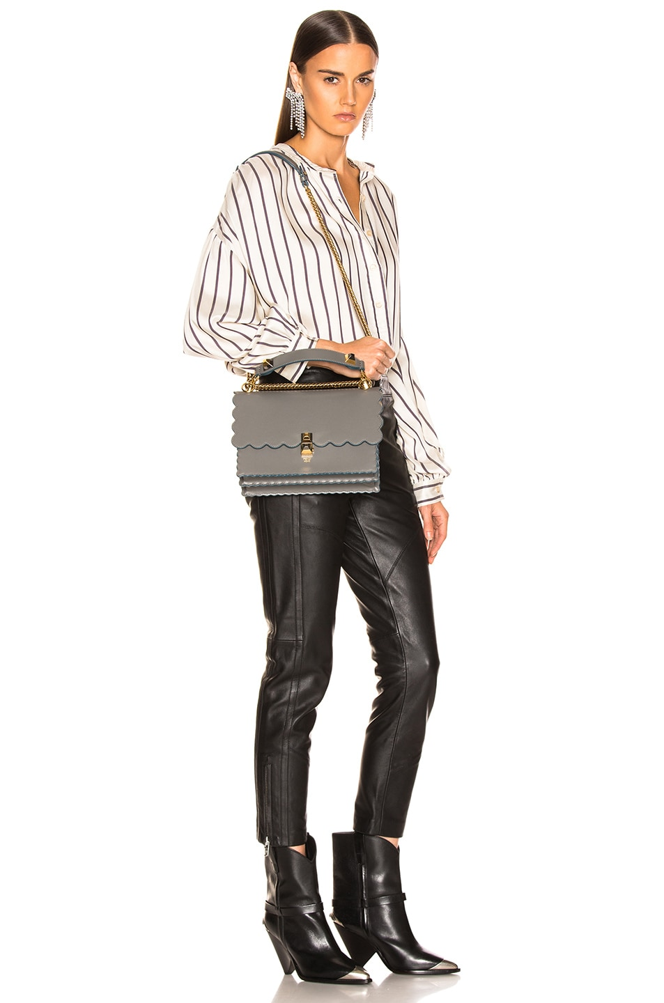 Image 2 of Fendi Scallop Chain Crossbody Bag in Grey