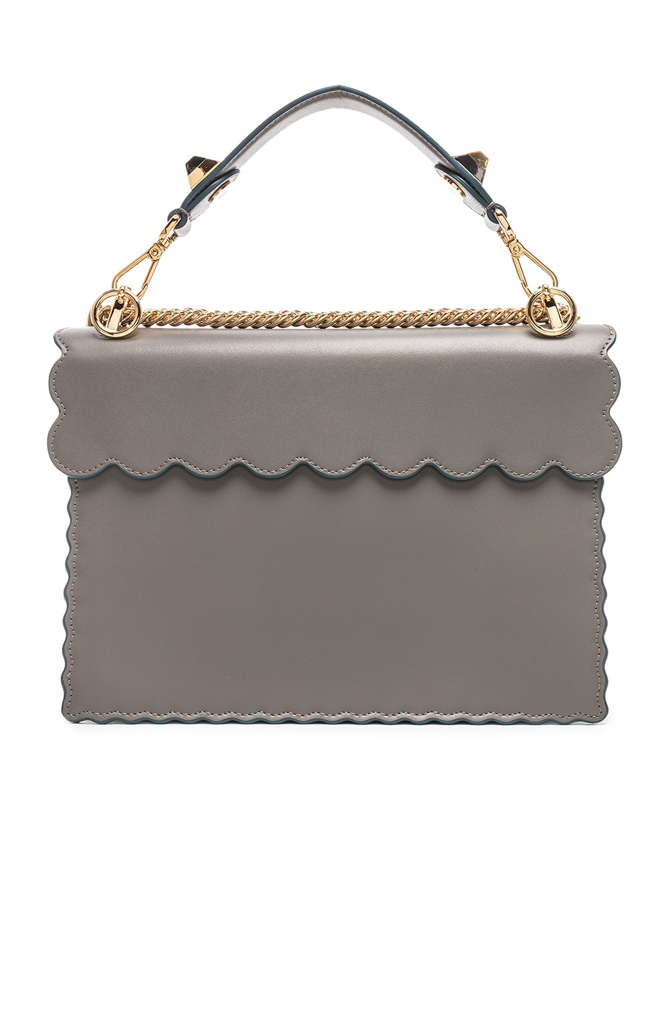 Image 3 of Fendi Scallop Chain Crossbody Bag in Grey