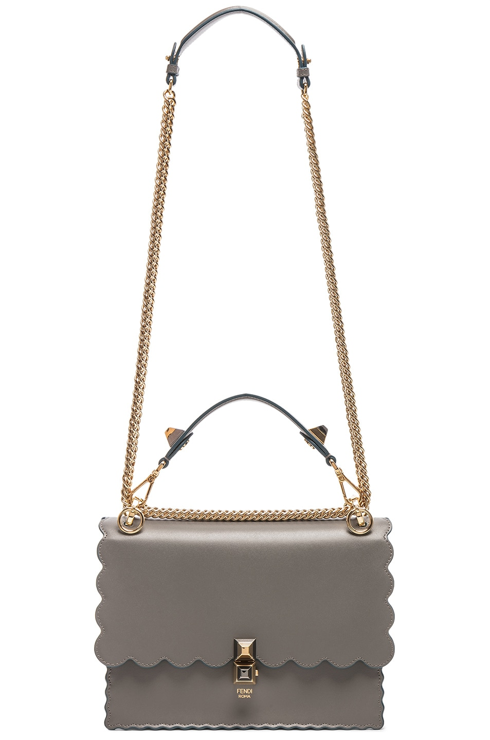 Image 6 of Fendi Scallop Chain Crossbody Bag in Grey