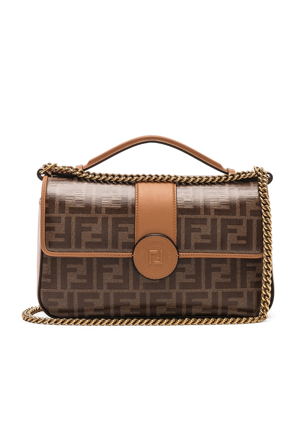42a050df7aa1 Image 1 of Fendi Double F Shoulder Bag in Tan