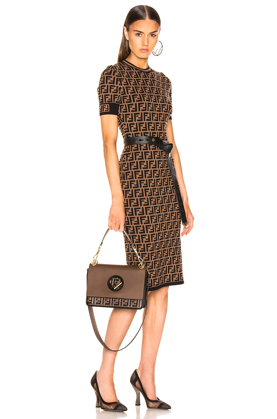 Image 2 of Fendi Two Tone Logo Shoulder Bag in Chocolate