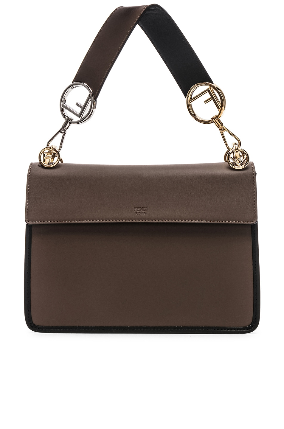 Image 3 of Fendi Two Tone Logo Shoulder Bag in Chocolate