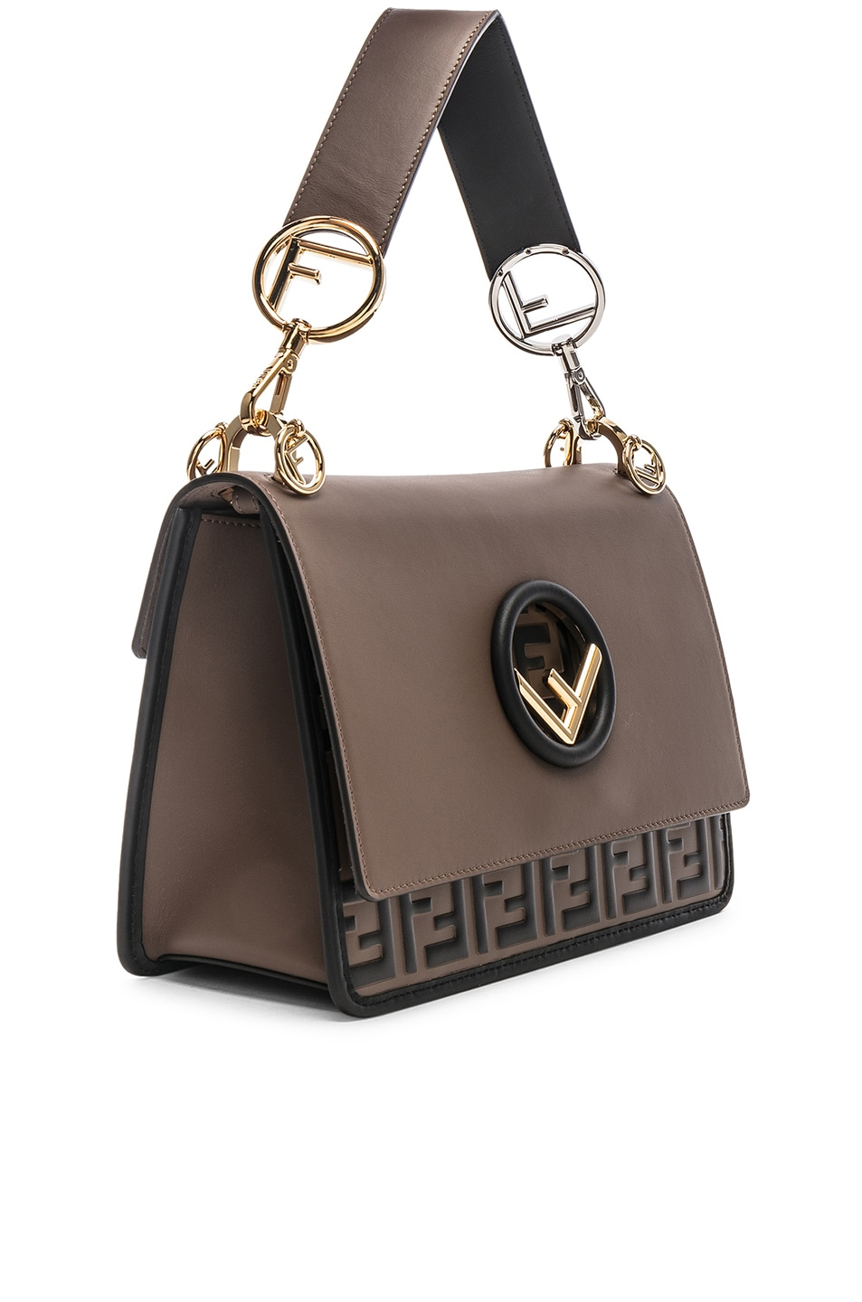 Image 4 of Fendi Two Tone Logo Shoulder Bag in Chocolate