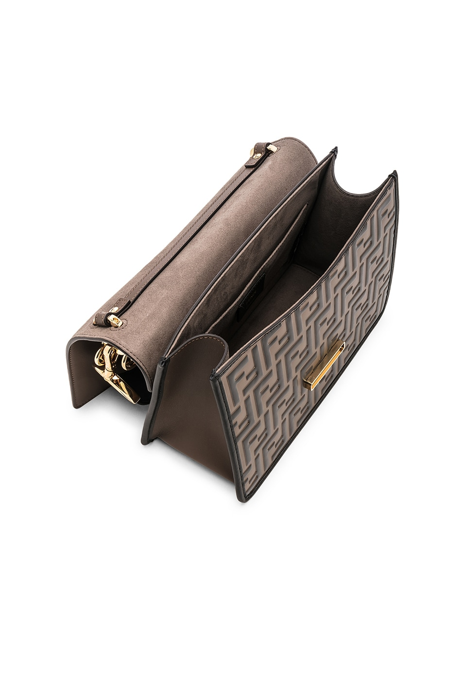 Image 5 of Fendi Two Tone Logo Shoulder Bag in Chocolate