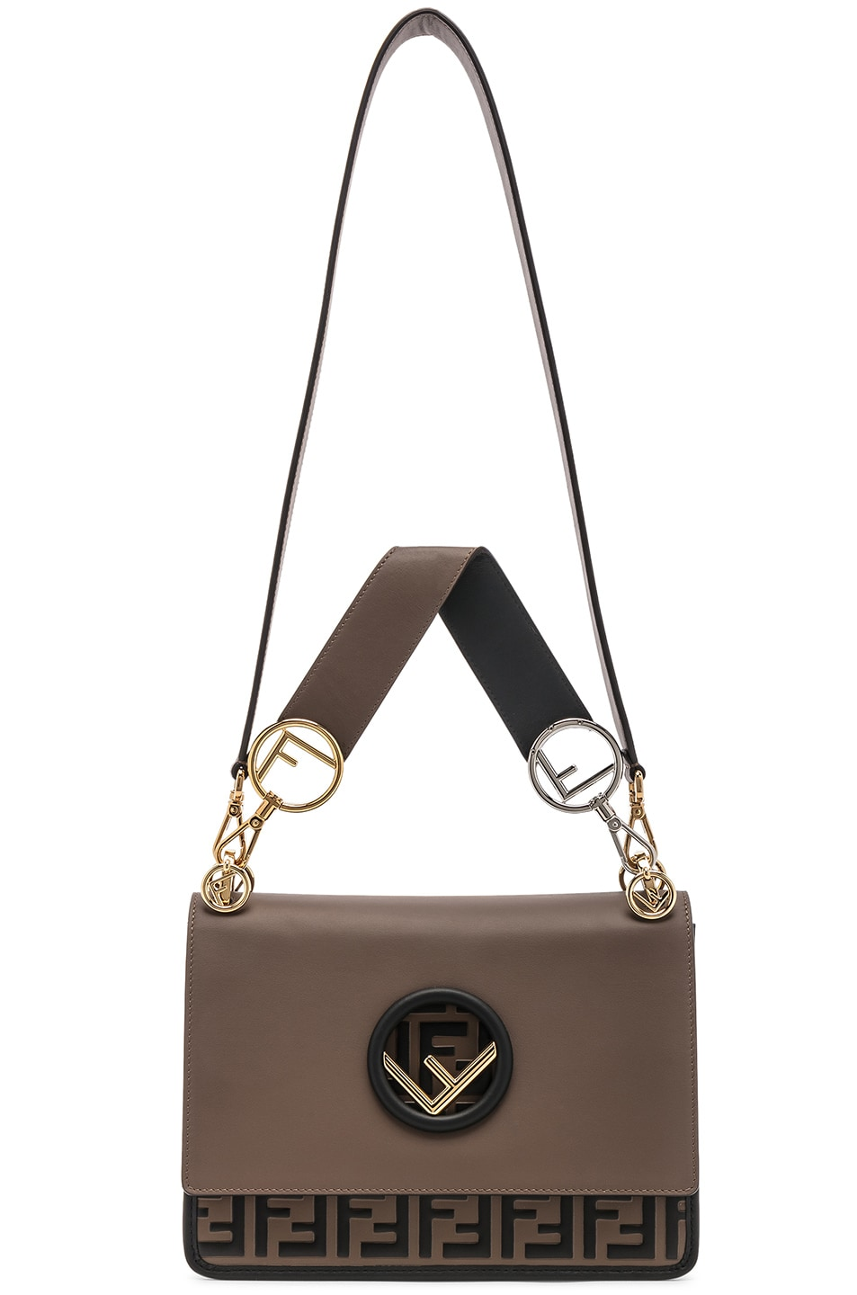 Image 6 of Fendi Two Tone Logo Shoulder Bag in Chocolate