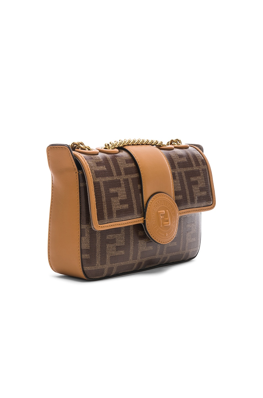 Image 4 of Fendi Logo Chain Crossbody Bag in Brown
