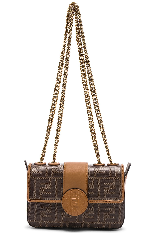 Image 6 of Fendi Logo Chain Crossbody Bag in Brown