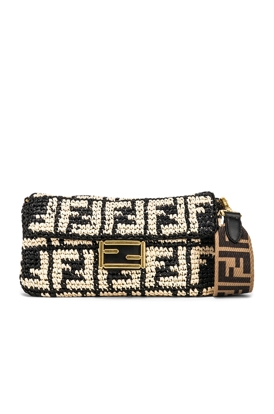 289c2c76de64 Image 1 of Fendi Baguette Double F Raffia Crossbody Bag in Black