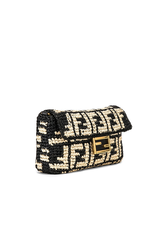 Image 4 of Fendi Baguette Double F Raffia Crossbody Bag in Black