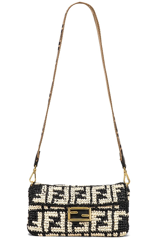 Image 6 of Fendi Baguette Double F Raffia Crossbody Bag in Black