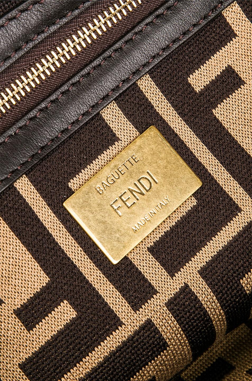 Image 7 of Fendi Baguette Double F Raffia Crossbody Bag in Black