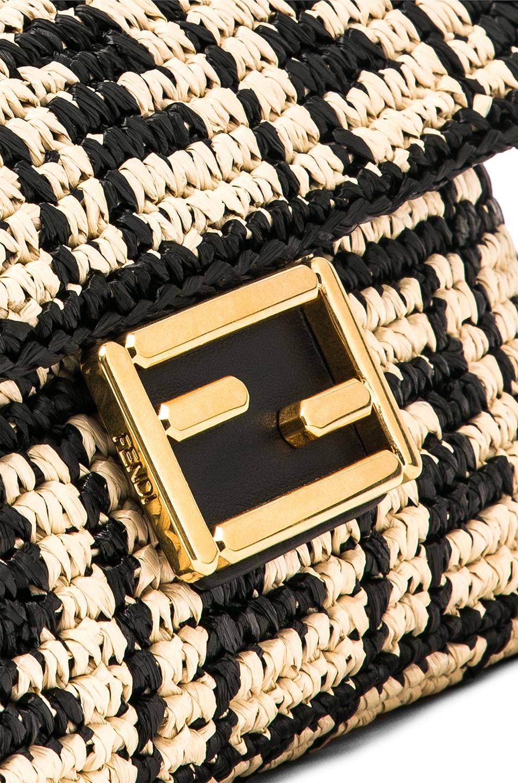 Image 8 of Fendi Baguette Double F Raffia Crossbody Bag in Black