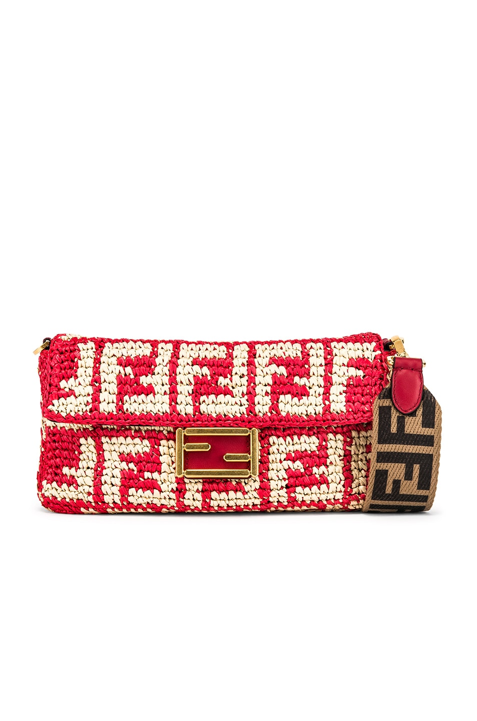 Image 1 of Fendi Baguette Double F Raffia Crossbody Bag in Red