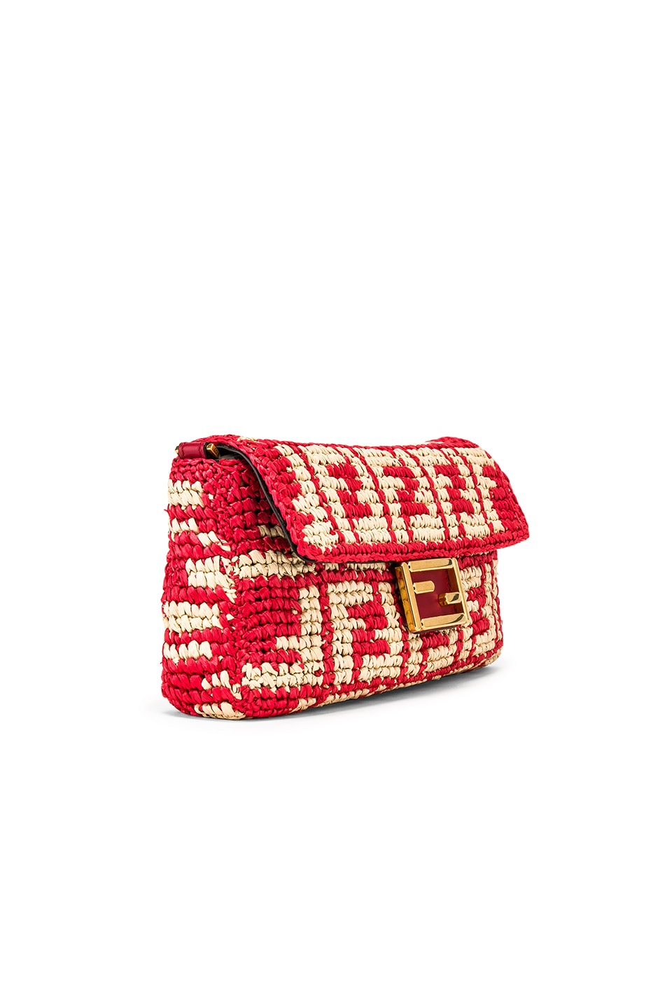 Image 4 of Fendi Baguette Double F Raffia Crossbody Bag in Red