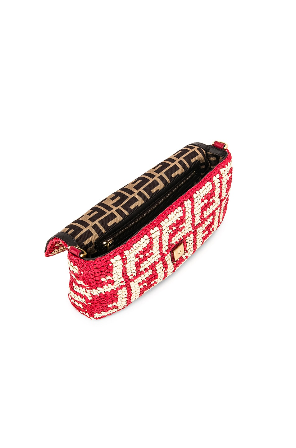 Image 5 of Fendi Baguette Double F Raffia Crossbody Bag in Red
