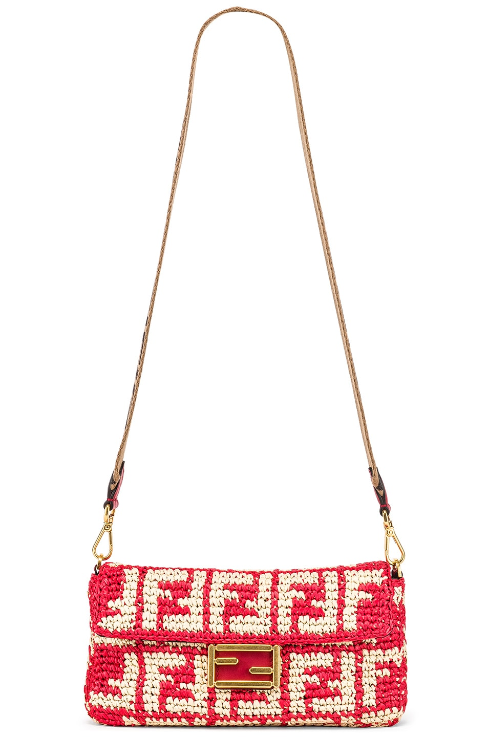Image 6 of Fendi Baguette Double F Raffia Crossbody Bag in Red