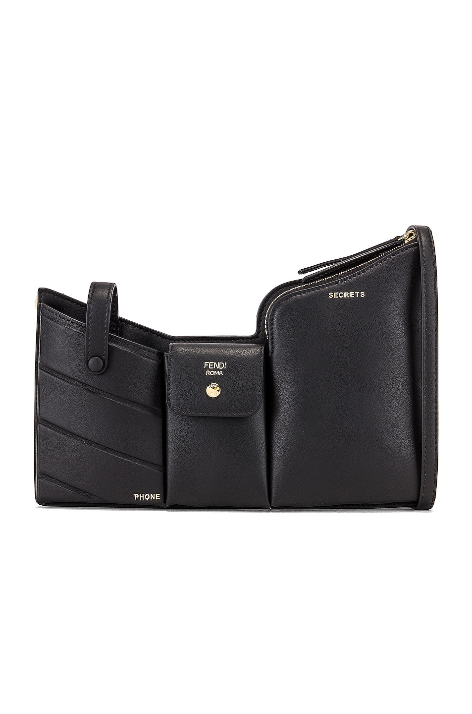 Image 1 of Fendi Mini Three Pocket Crossbody Bag in Black