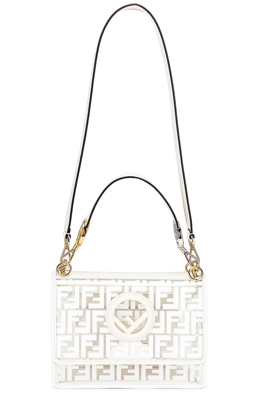 Image 6 of Fendi Kan I Logo Crossbody Bag in White
