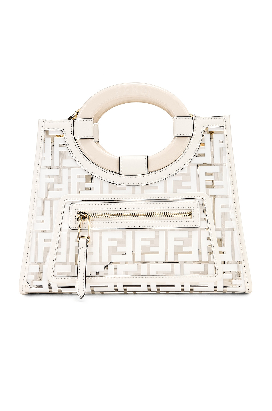 Image 1 of Fendi Mini Runaway Shopper Tote in White