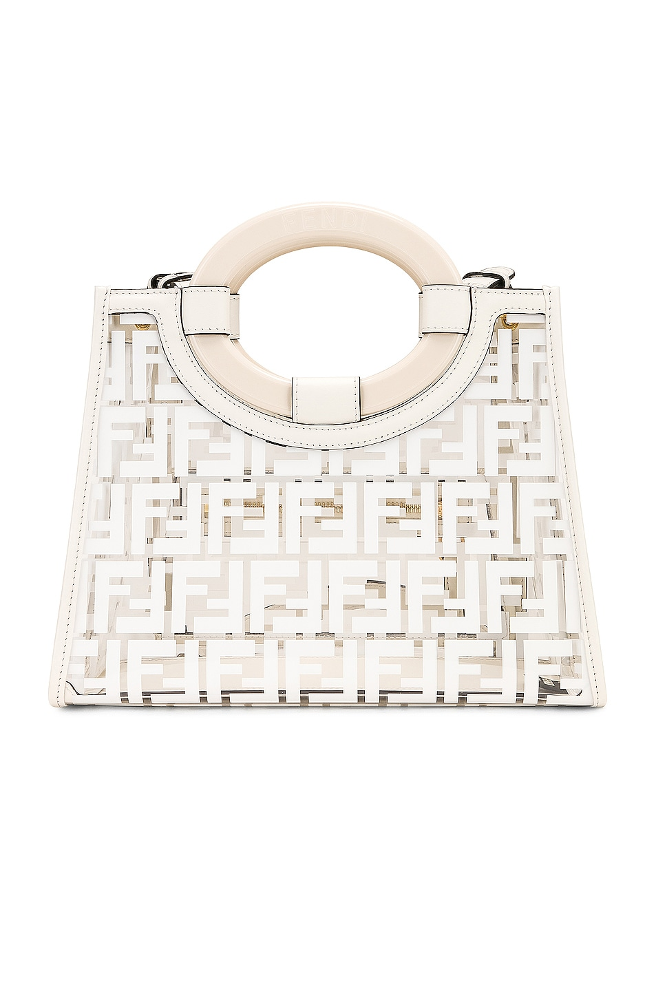 Image 3 of Fendi Mini Runaway Shopper Tote in White