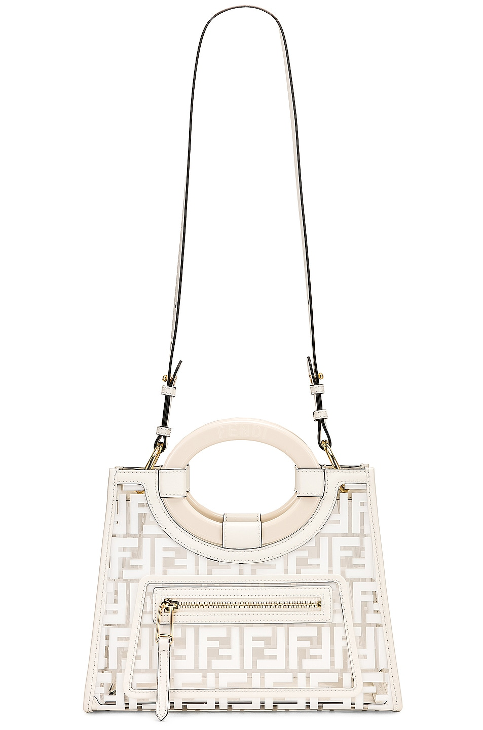 Image 6 of Fendi Mini Runaway Shopper Tote in White