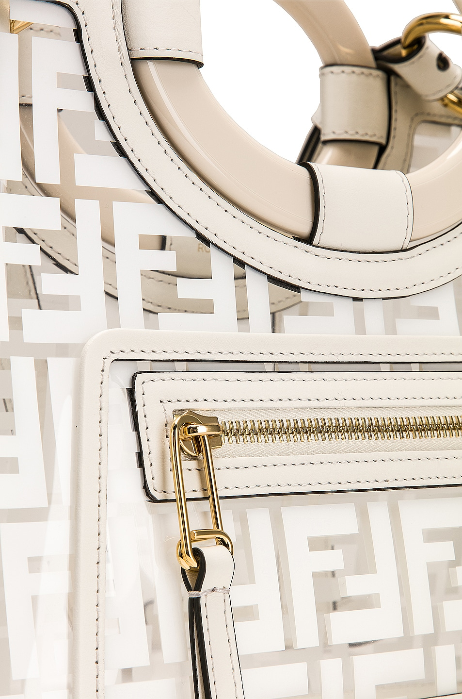 Image 8 of Fendi Mini Runaway Shopper Tote in White