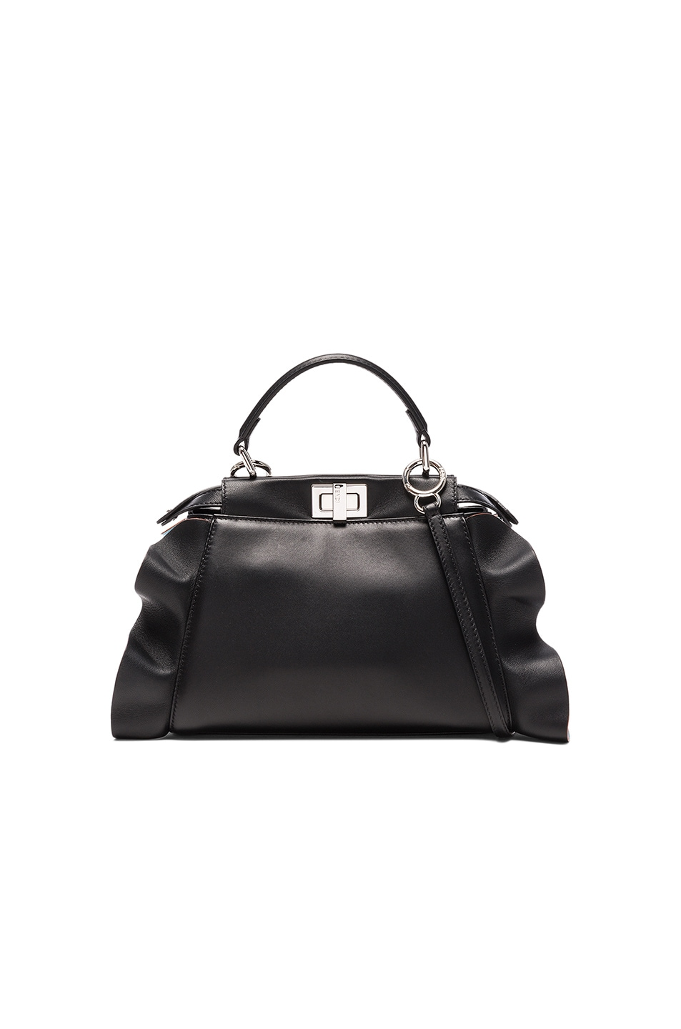 Image 1 of Fendi Mini Peekaboo Wave Shiny Nappa in Black, Turquoise & Palladium
