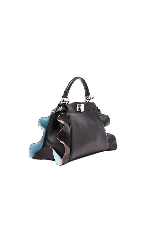 Image 3 of Fendi Mini Peekaboo Wave Shiny Nappa in Black, Turquoise & Palladium