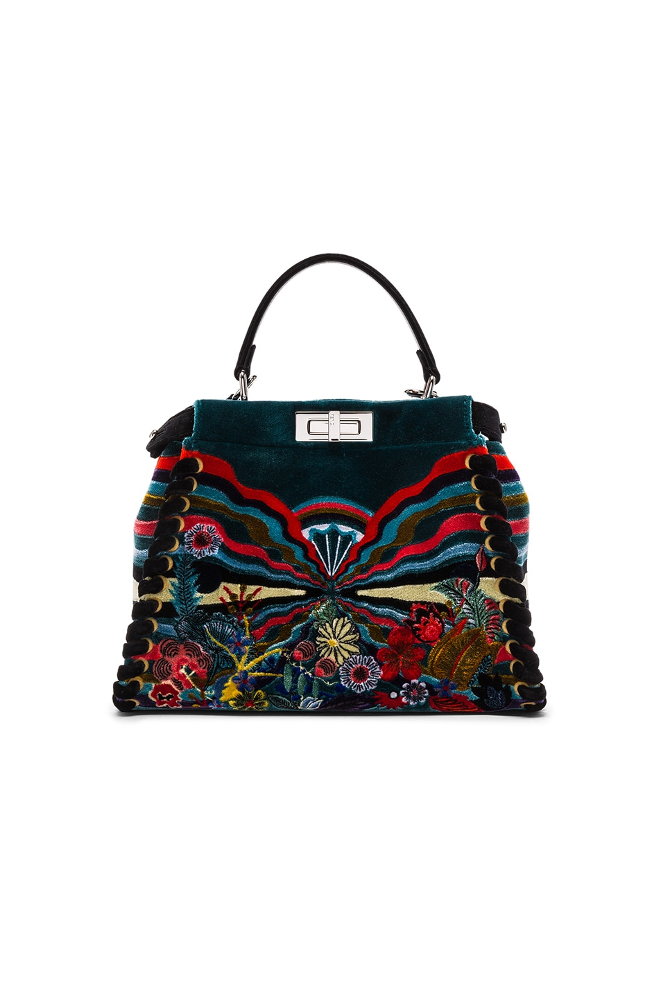 Image 1 of Fendi Hypnogarden Embroidered Regular Peekaboo in Multicolor & Black Palladium