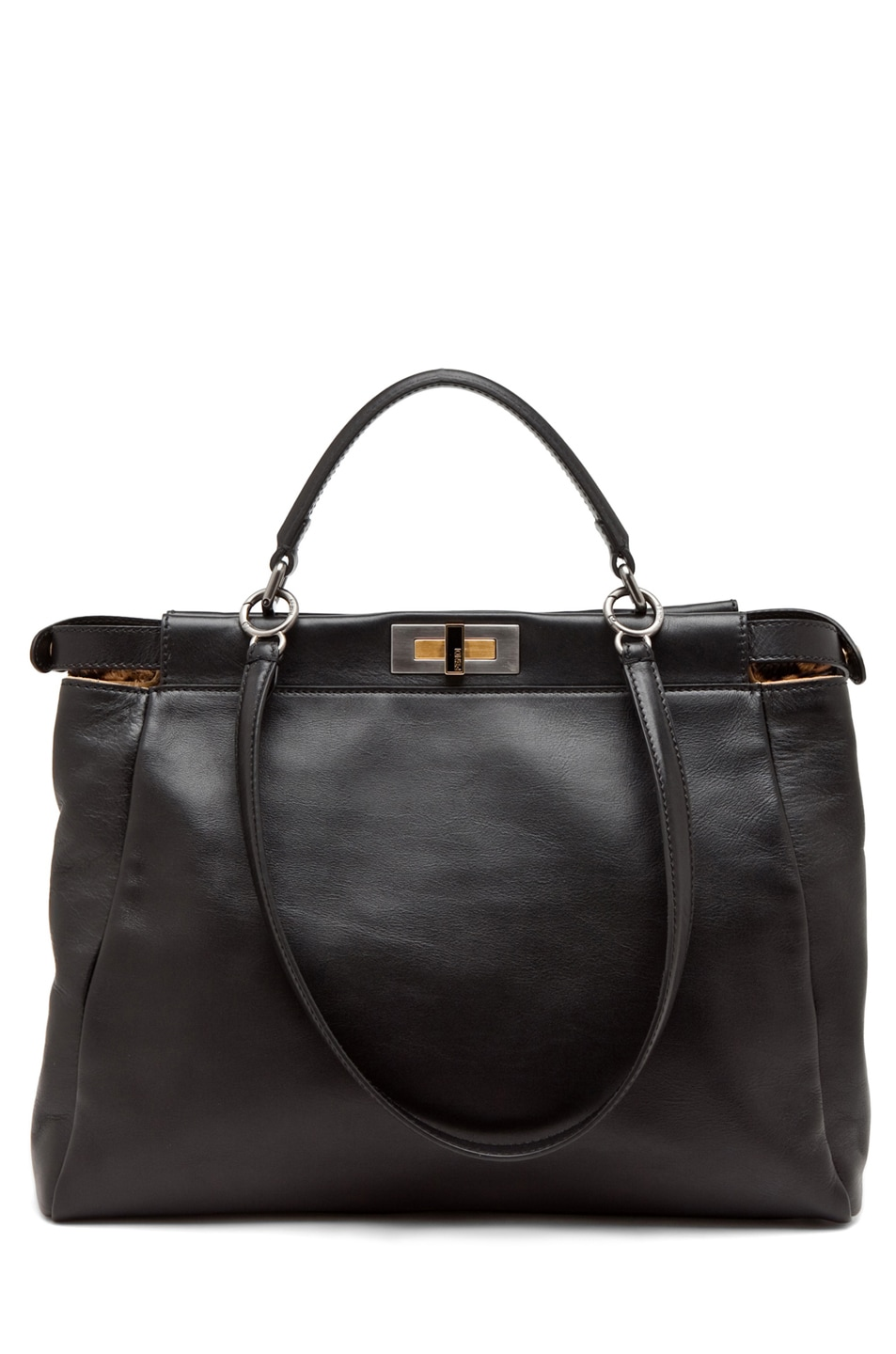 Image 1 of Fendi Peekaboo Handbag in Black/Leopard