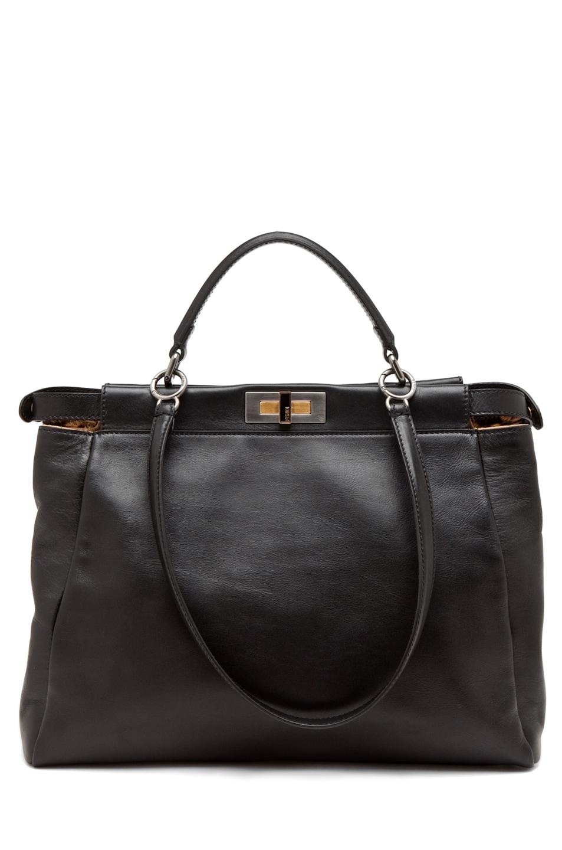 Image 1 of Fendi Peekaboo Handbag in Black & Leopard