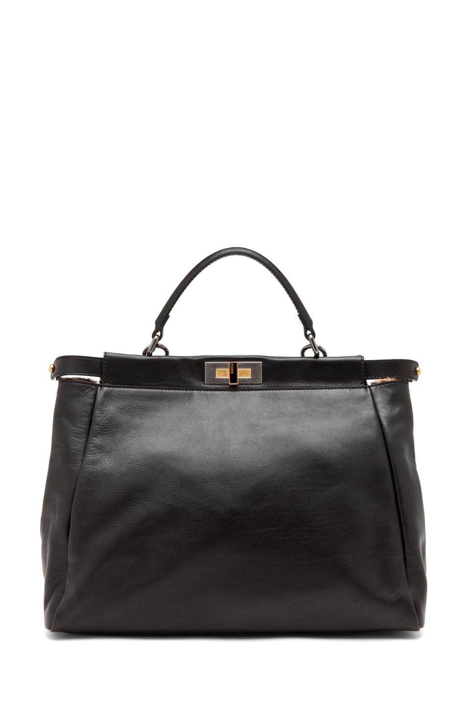 Image 2 of Fendi Peekaboo Handbag in Black & Leopard