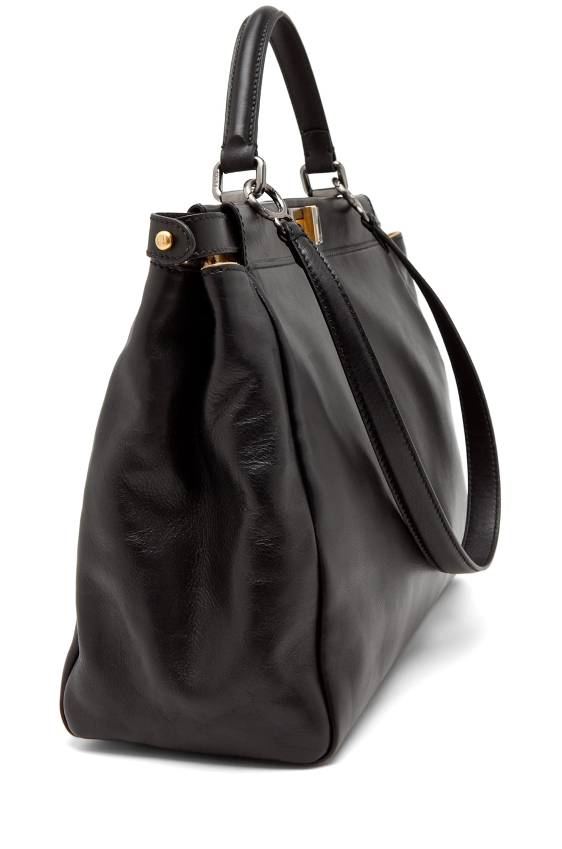Image 3 of Fendi Peekaboo Handbag in Black & Leopard