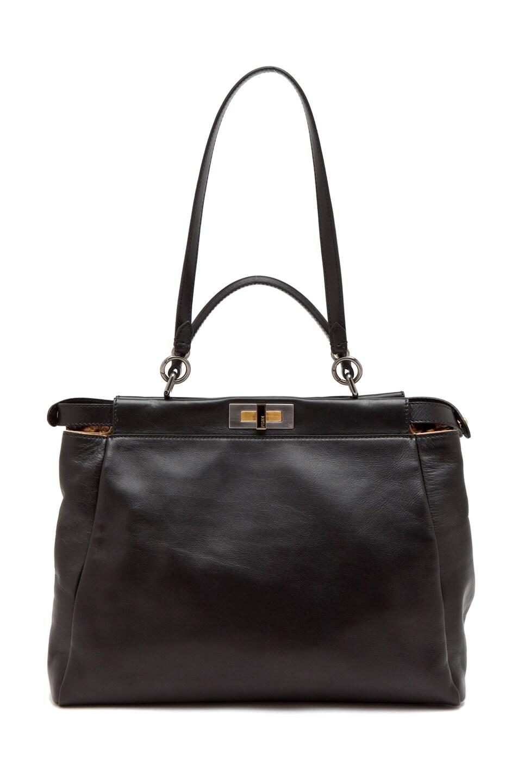 Image 4 of Fendi Peekaboo Handbag in Black & Leopard