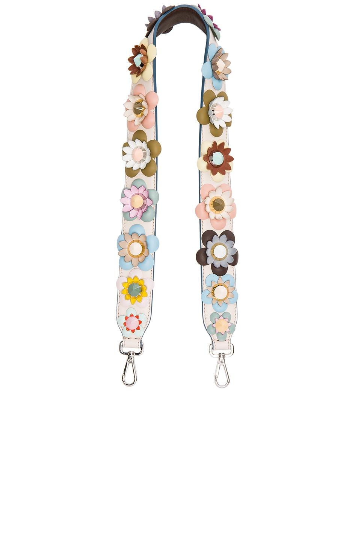 7200937ecb Image 1 of Fendi Flower Embellished Bag Strap in Pale Pink   Multi