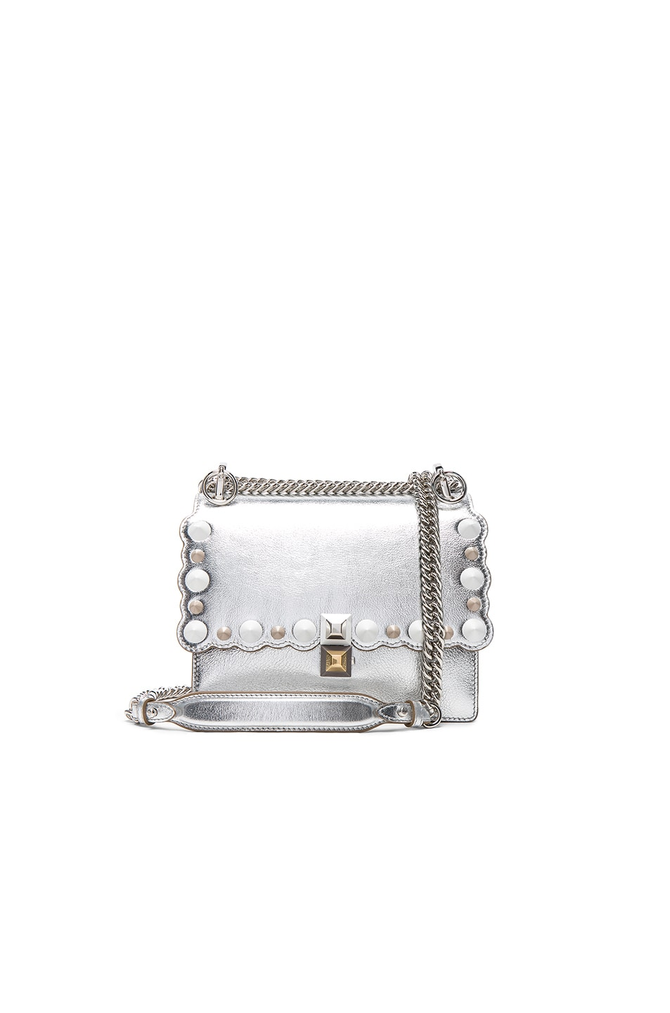 Image 1 of Fendi Embellished Kan l Shoulder Bag in Silver