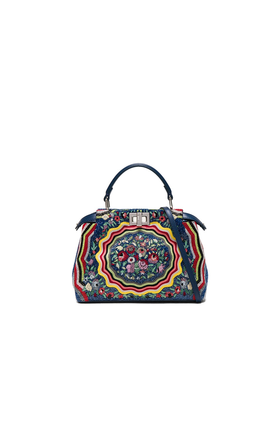 Image 1 of Fendi Embroidered Flowers Mini Peekaboo in Multi