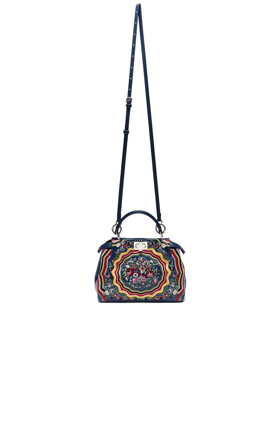 Image 5 of Fendi Embroidered Flowers Mini Peekaboo in Multi