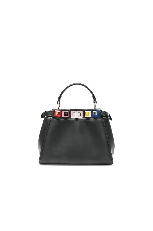 d17a805432ae Image 2 of Fendi Shatoosh Leather Multicolor Stud Mini Peekaboo in Black