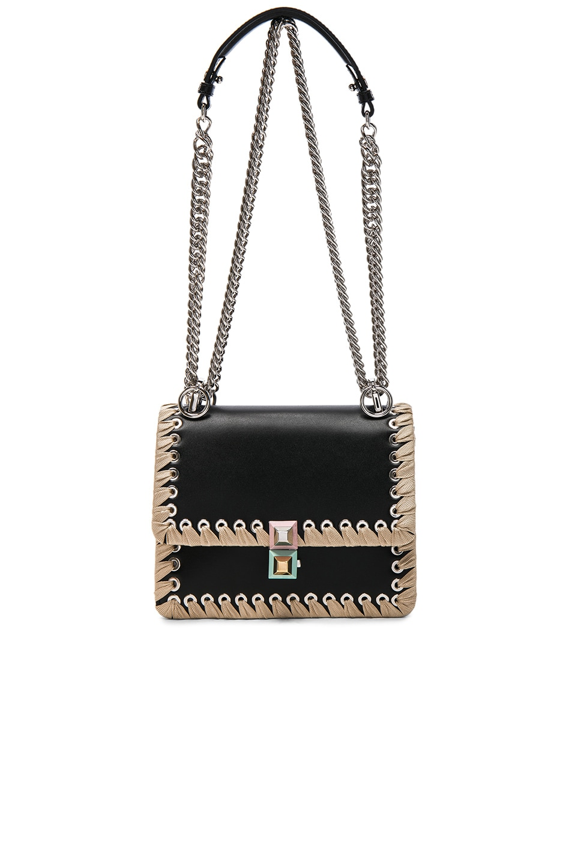 e86a374e250d Image 5 of Fendi Whipstitch Small Kan l Shoulder Bag in Black   Beige
