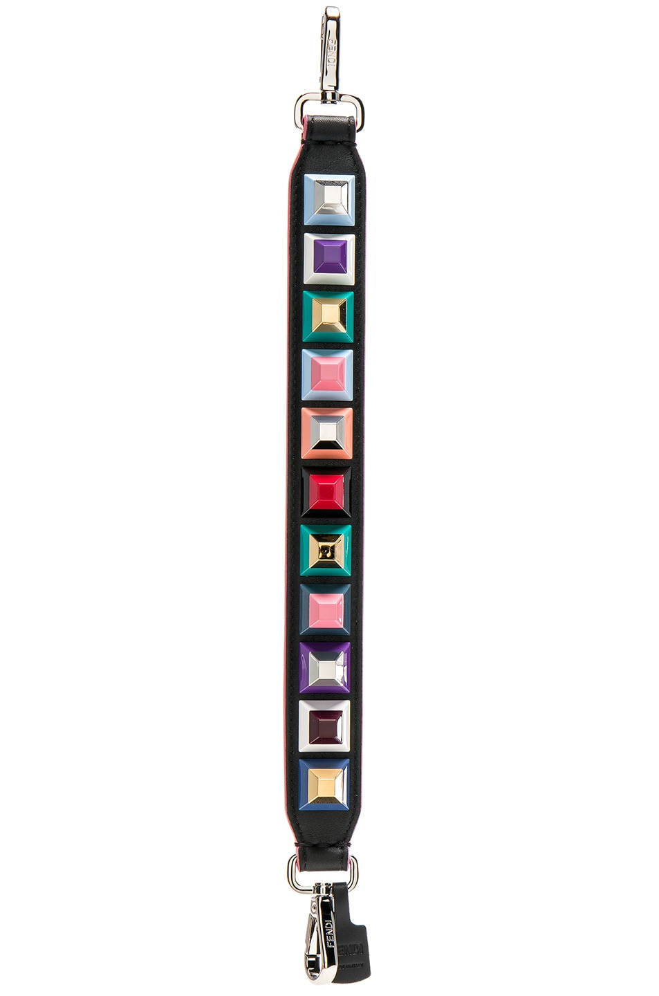 Image 1 of Fendi Mini Embellished Bag Strap in Black & Multi