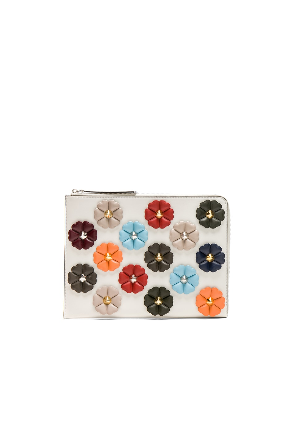 Image 1 of Fendi Embellished Large Flat Clutch in White Ice & Multi