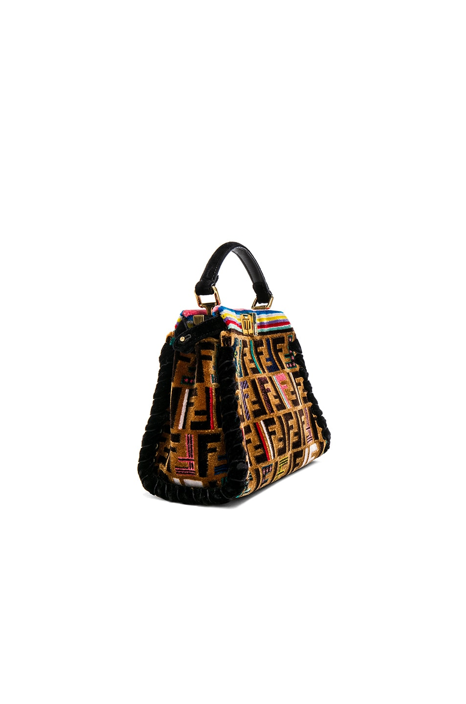 a65fdee125 Image 3 of Fendi FF Velvet Whipstitch Mini Peekaboo in Multicolor   Black