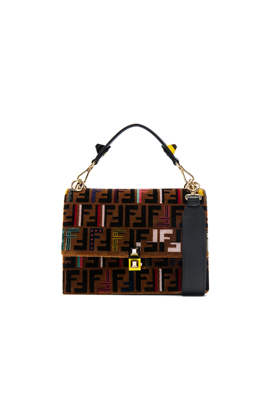 acfab9a2dae Image 1 of Fendi FF Embroidered Kan I in Tobacco, Multicolor   Black