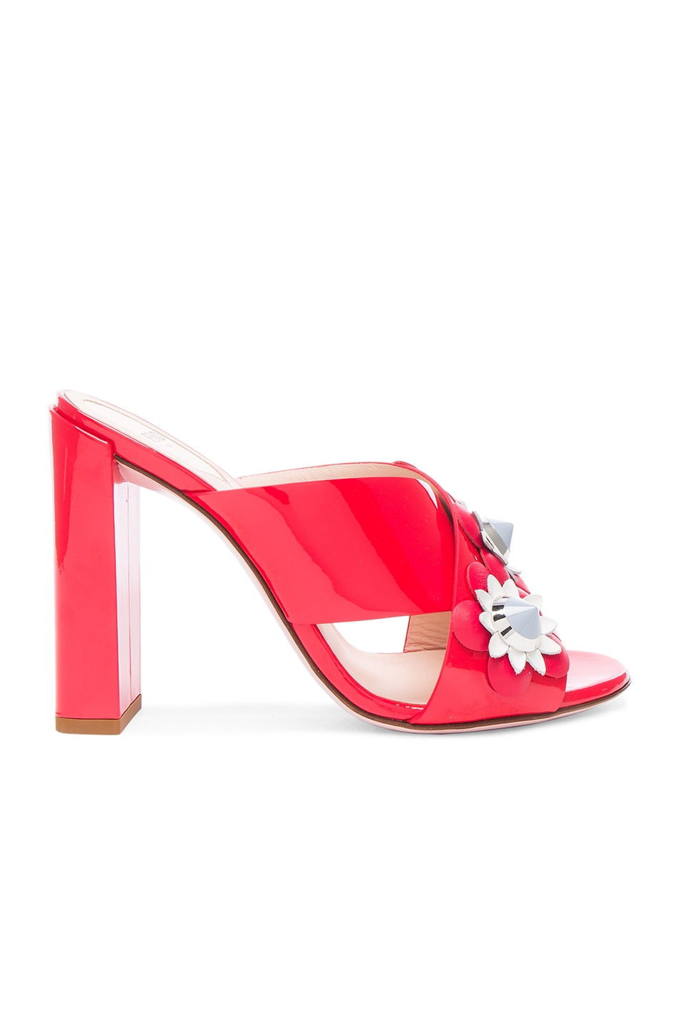 Image 1 of Fendi Patent Leather Crisscross Heels in Red Flowerland