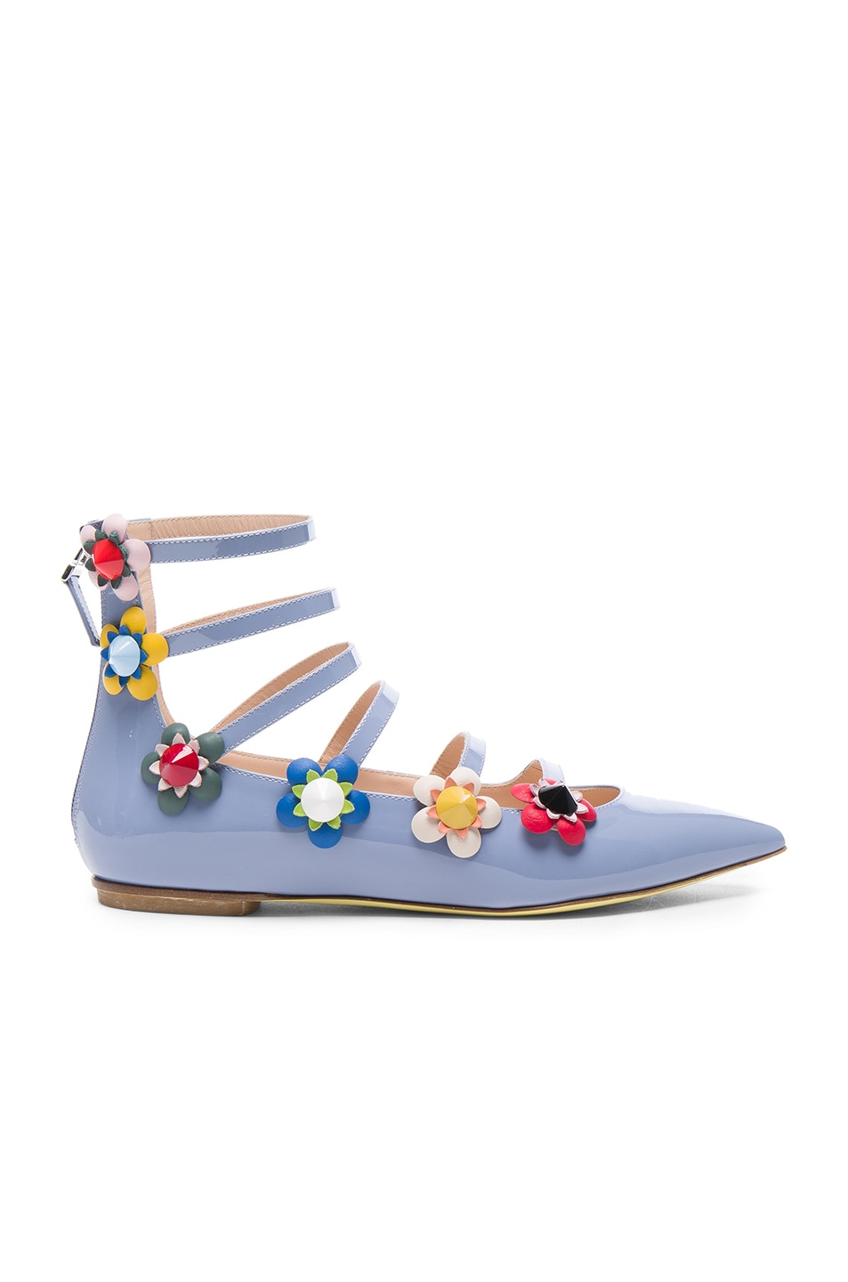 Image 1 of Fendi Patent Leather Multi Strap Flats in Lillagry Flowerland